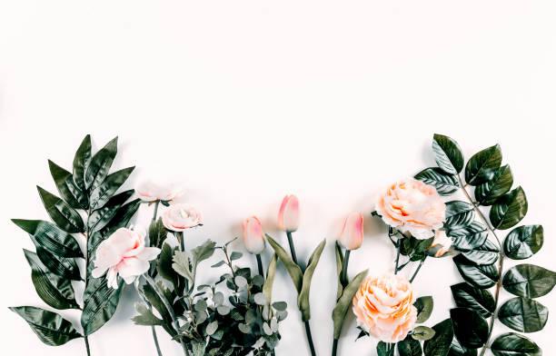 Floral Pattern White Background Flat - Fine Art prints