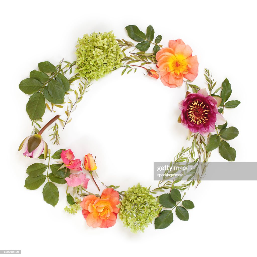 Floral round crown with flowers and leaves flat lay stock photo floral round crown wreath with flowers and leaves flat lay stock photo izmirmasajfo