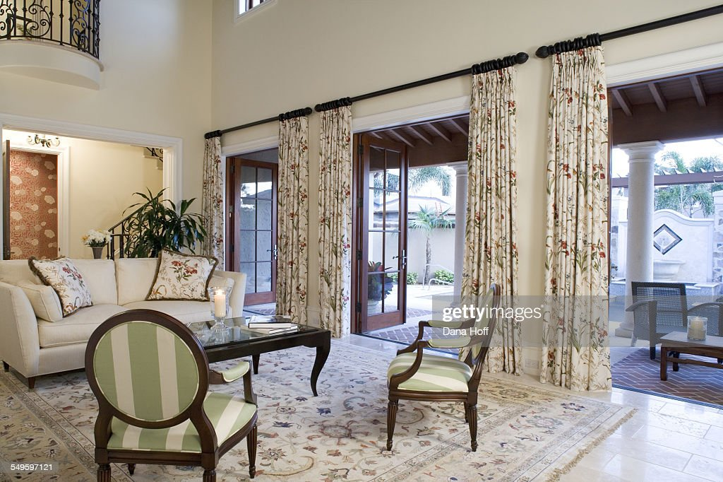 Fl Rug And Curtains In White Living
