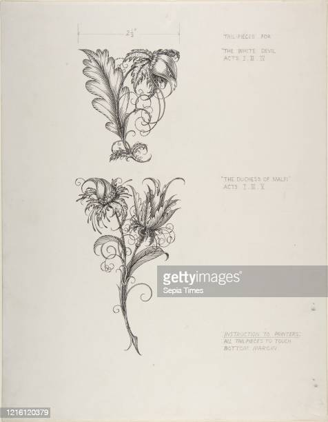 Floral Tailpiece Designs, The Duchess of Malfi and The White Devil, circa 1930, Pen and black ink, sheet: 15 1/4 x 11 7/8 in. , Drawings, Henry...