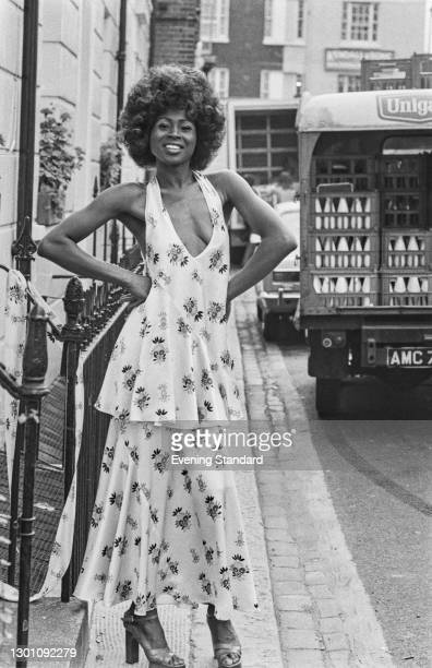 Floral top and skirt by English fashion designer Ossie Clark, UK, 16th July 1973.