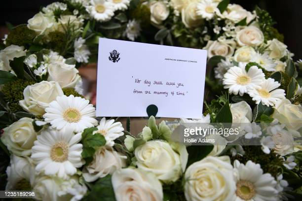 Floral tribute from the American Embassy in London laid at the September 11 Memorial Garden at Grosvenor Square on September 11, 2021 in London,...