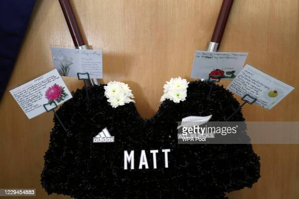 Floral tribute in the shape of the New Zealand All Blacks rugby jersey in the church before the funeral service of police officer Sergeant Matt...