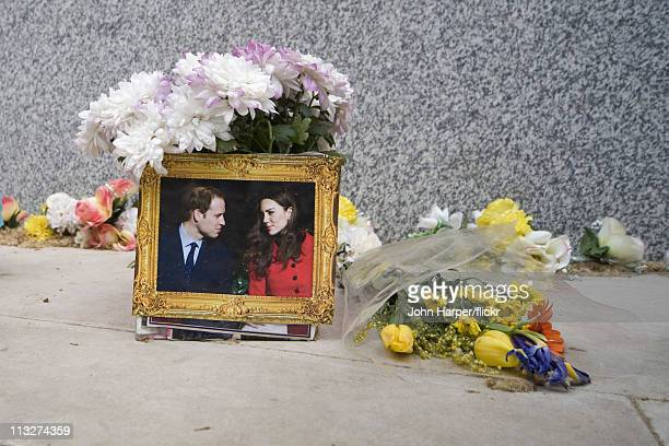 A floral tribute is pictured on the Mall during the Royal Wedding of Prince William to Catherine Middleton on April 29 2011 in London England The...