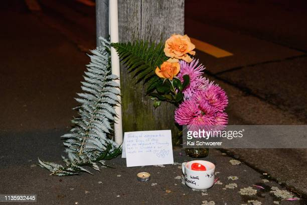 A floral tribute is seen on Linwood Avenue near the Linwood Masjid on March 15 2019 in Christchurch New Zealand 49 people have been confirmed dead...