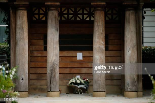 Floral tribute laid on the behalf of British Prime Minister Boris Johnson at the September 11 Memorial Garden at Grosvenor Square on September 11,...
