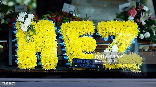 Floral tribute to Meredith Kercher spelling out her nick name 'MEZ' is placed in the hearse at her funeral on December 14, 2007 at Croydon Parish...