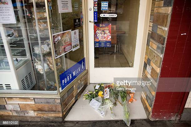 Floral tributes and cards lay at the crime scene where underworld figure Desmond 'Tuppence' Moran was shot dead earlier today, at Ascot Vale on June...