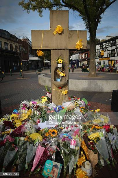 Floral tributes and yellow ribbons continue to be left by memebers of the public the 'Eccles Cross' in memory of murdered British aid worker Alan...