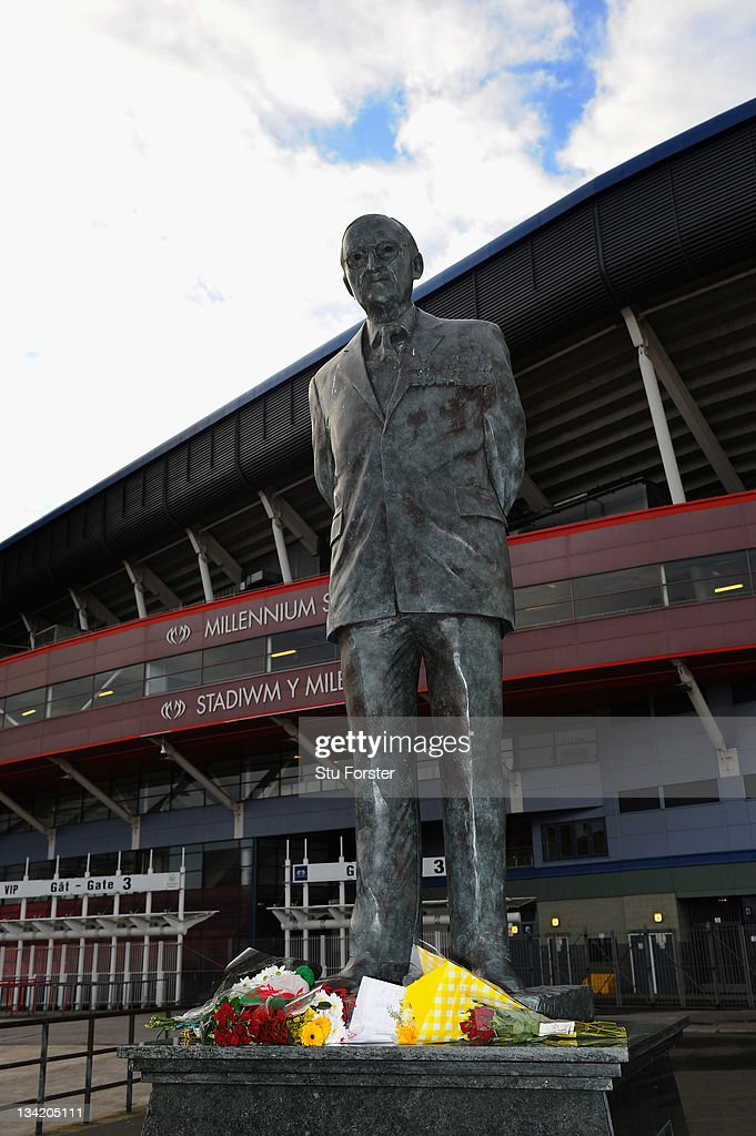 Floral tributes appear on the statue of Sir Tasker Watkins in memory of Gary Speed outside the Millennium stadium on November 28, 2011 in Cardiff, Wales. Wales Manager Gary Speed, 42, was found dead on November 27, 2011 in Cheshire, England.