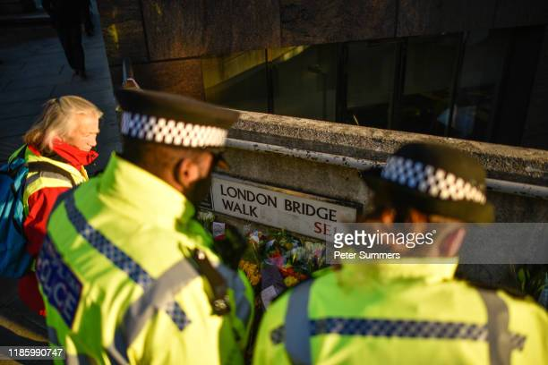 Floral tributes are left for Jack Merritt and Saskia Jones, who were killed in a terror attack, on December 2, 2019 in London, England. Usman Khan, a...