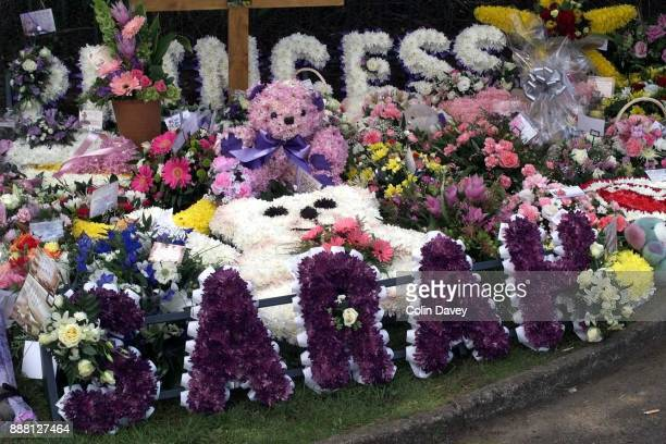 Floral tributes at the funeral of murder victim Sarah Payne 31st August 2000