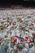 Floral tributes cover the pitch at anfield liverpool during a held picture id107877155?s=170x170