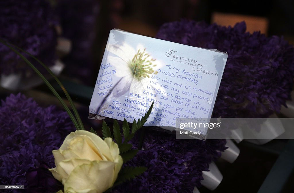 Floral tributes for Christina Edkins are seen at her funeral service at St Phillips Cathedral on March 22, 2013 in Birmingham, England. Hundreds of people attended the service for the teenager, who was stabbed to death on a bus in Birmingham. Leasowes High School, in Halesowen, where the 16-year-old was a pupil, was closed today to allow children and staff to join her family at the service.