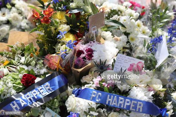 Floral tributes for PC Andrew Harper at the Thames Valley Police Training Centre on August 23 2019 in Sulhamstead near Reading United Kingdom PC...