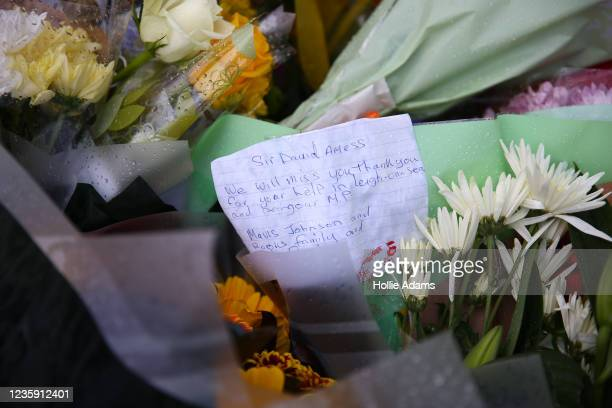 Floral tributes laid at Belfairs Methodist Church on October 16, 2021 in Leigh-on-Sea, United Kingdom. Counter-terrorism officers are investigating...