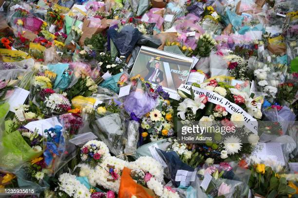 Floral tributes laid in memory of David Amess MP near Belfairs Methodist Church on October 17, 2021 in Leigh-on-Sea, United Kingdom. Amess, MP for...