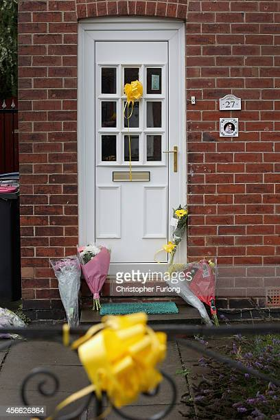 Floral tributes lay at the front door of Alan Henning's home in Eccles who has been reportedly murdered by Islamic State October 4 2014 in Salford...