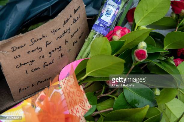 Floral tributes left at Clapham Common bandstand where people continue to pay their respects to Sarah Everard on March 16, 2021 in London, England...