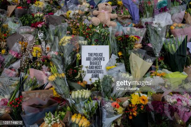 Floral tributes left at Clapham Common bandstand where people continue to pay their respects to Sarah Everard on March 16, 2021 in London, England....