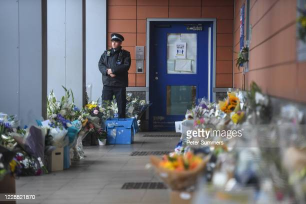 Floral tributes left in memory of Sergeant Matiu Ratana outside Croydon Custody Centre on October 1 2020 in Croydon England Metropolitan Police...