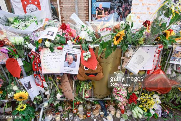 Floral tributes, messages and cards for murdered Dutch investigative journalist Peter R. De Vries are seen displayed on Leidsedwarsstraat street....