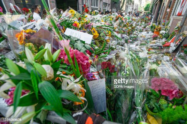Floral tributes, messages and cards for murdered investigative journalist Peter R. De Vries seen on Leidsedwarsstraat street where he was shot. Dutch...