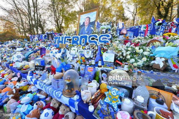 Floral tributes to the clubs late chairman Vichai Srivaddhanaprabha at King Power Stadium aheads of the Premier League match between Leicester City...