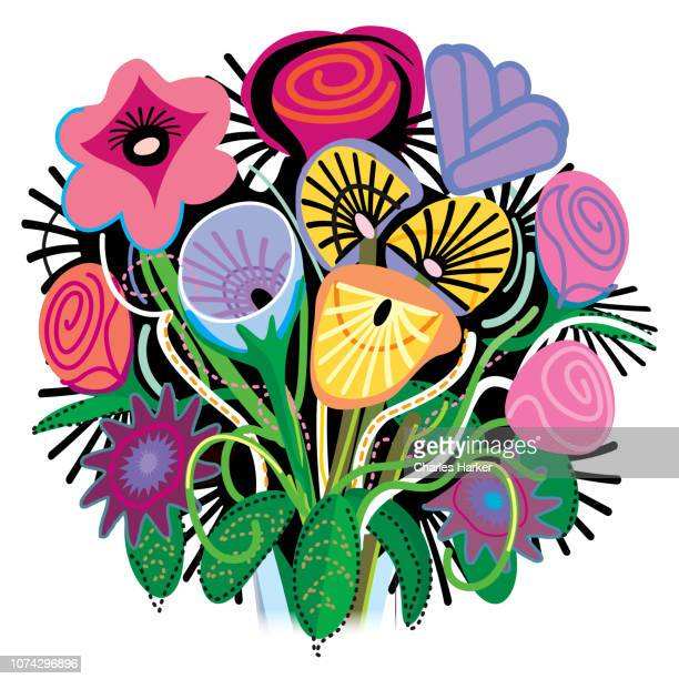 Floral Tropical Bouquet Folk Illustration