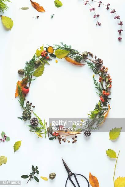Floral winter wreath