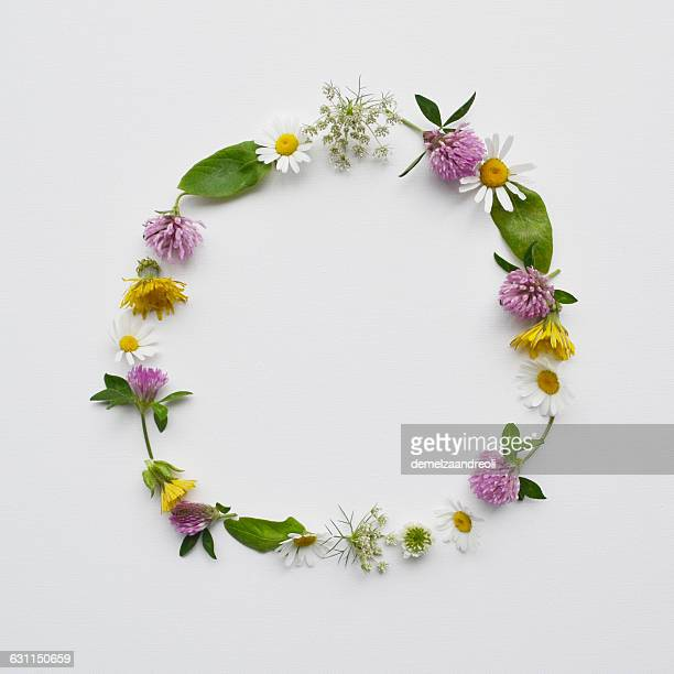 Floral wreath made from wildflowers and leaves
