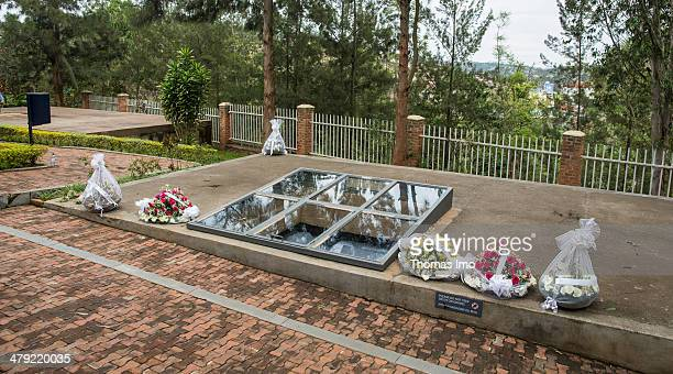 Floral wreaths at the Kigali Genocide Memorial Centre on February 02 2014 in Kigali Rwanda The Rwandan Genocide was a genocidal mass slaughter of...