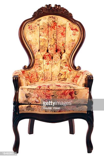 Floral-patterned Antique Ornate Armchair Isolated on White