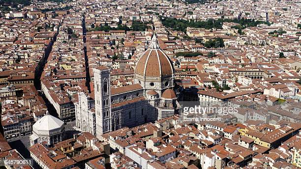 Florence aerial view of Dome, Battistero, Giotto