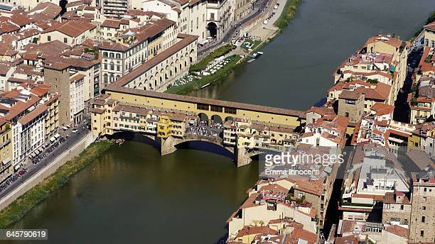 Florence aerial view of Ponte Vecchio