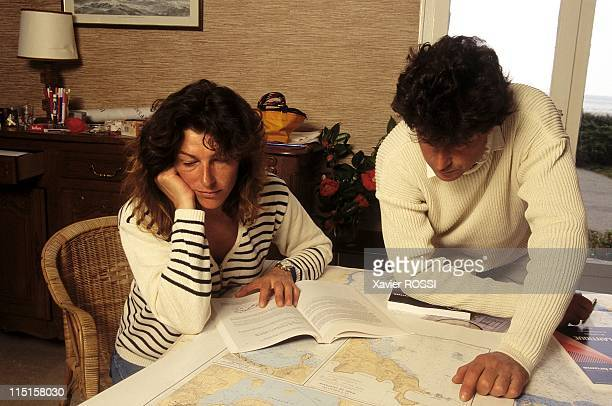 Florence Arthaud and Jean Le Cam in France on March 23 1996 At Jean Le Cam's home