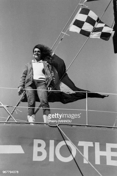 Florence Arthaud le jour du lancement de son nouveau trimaran 'Biotherm' à Brest le 28 septembre 1982 France