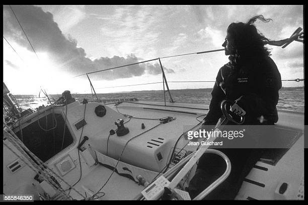 Florence Arthaud on board her boat