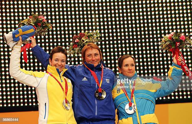 Florence BaverelRobert of France winning gold Anna Carin Olofsson of Sweden silver and Lilia Efremova of Ukraine with bronze during the Medals...