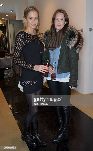 Florence BrudenellBruce and Arabella Musgrave attend the launch of Oxygen Boutique's popup shop at Oxygen Boutique on February 8 2011 in London...