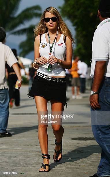 Florence BrudenellBruce girlfriend of Jenson Button of Great Britain and Honda Racing walks in the paddock following qualifying for the Malaysian...