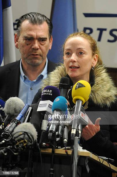 Florence Cassez and her lawyer Franck Berton speak during a press conference at the Roissy airport on January 24 2013 in Paris France A Supreme Court...