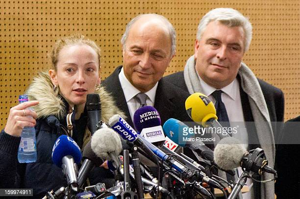 Florence Cassez French Foreign Minister Laurent Fabius and MarcPhilippe Daubresse attend a Press conference following her release from prison in...