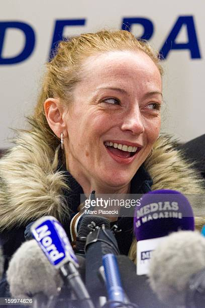Florence Cassez laughs as she attends a Press conference following her release from prison in Mexico at CharlesdeGaulle airport on January 24 2013 in...