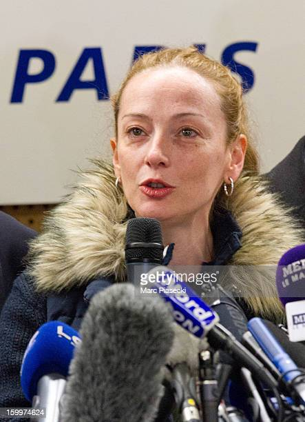 Florence Cassez speaks at a Press conference following her release from prison in Mexico at CharlesdeGaulle airport on January 24 2013 in Paris...