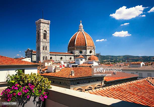 florence cathedral - across the rooftops - renaissance stockfoto's en -beelden