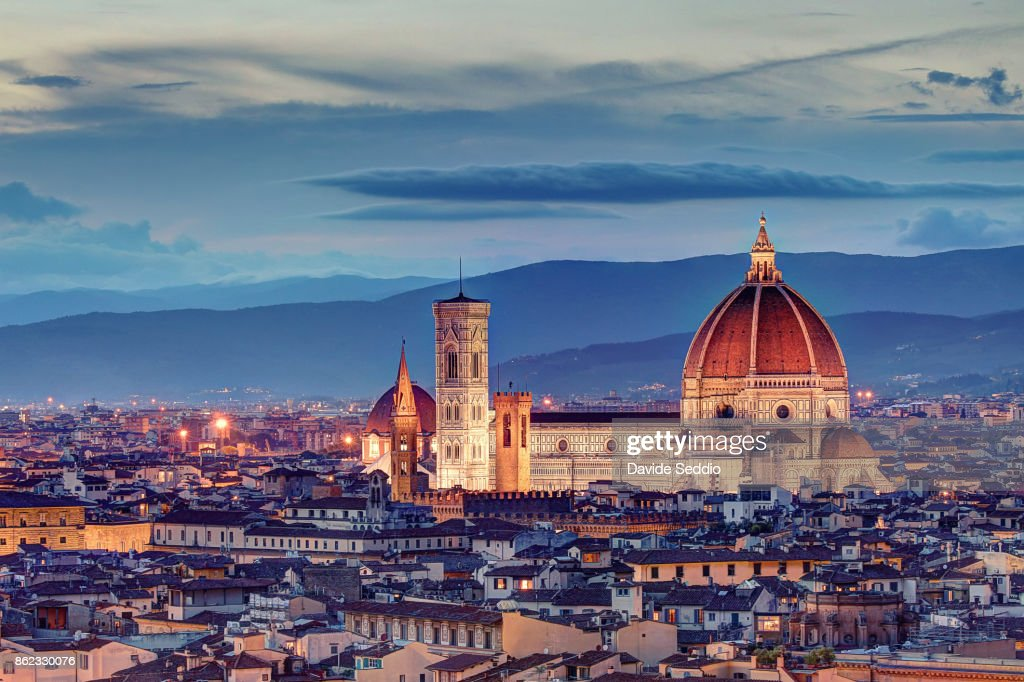 Florence Cathedral after the sunset : Stock Photo