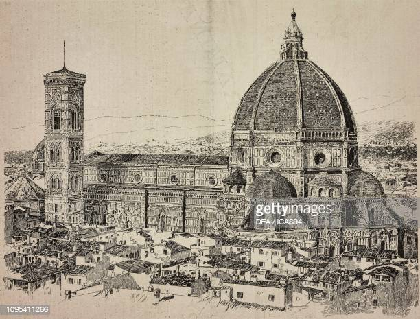 Florence cathedral, Florence, Italy, engraving from a drawing by Empedocle Ximenes, from L'Illustrazione Italiana, No 39, September 28, 1890.