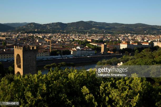 Florence city and Arno River view from above