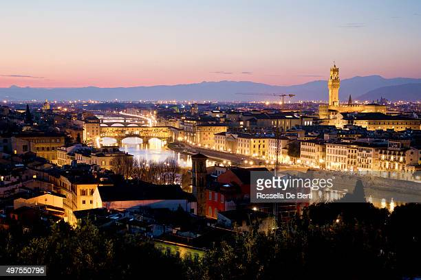 Florence Cityscape At Dusk, Italy